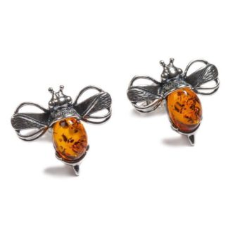 Amber and Silver Bumblebee Stud Earrings
