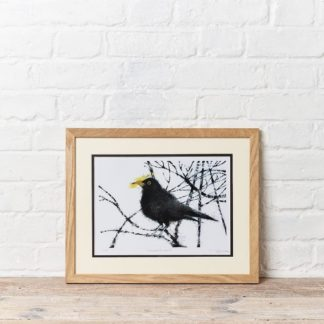 Sammie's Blackbird Painting and Wood Frame
