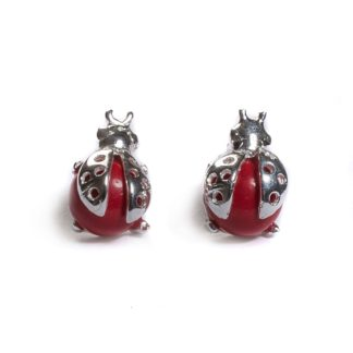 Coral & Silver Ladybird Stud Earrings