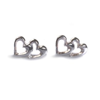 Heart Link Silver Stud Earrings