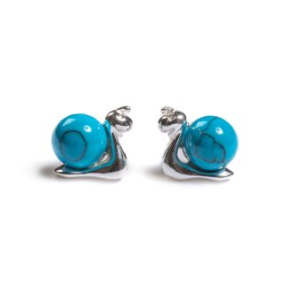 Turquoise & Silver Snail Stud Earrings