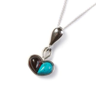 Turquoise, Cherry Amber & Silver Small Heart Necklace