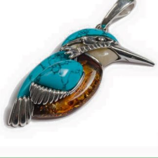 Large Amber & Turquoise Kingfisher Bird Pendant