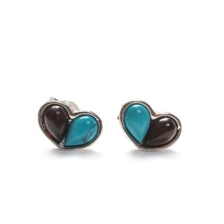 Turquoise, Cherry Amber & Silver Small Heart Stud Earrings