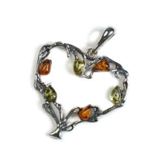 Cognac, Yellow & Green Amber Silver Tree of Love Necklace
