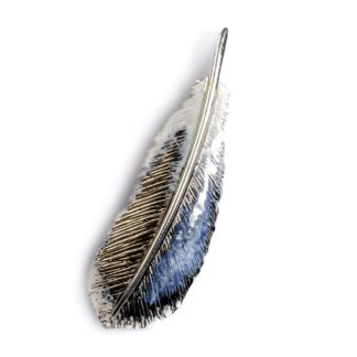 Silver Hand Painted Feather Necklace Mallard Duck