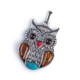 Turquoise, Cognac & Cherry Amber & Silver Feathered Owl Bird Necklace