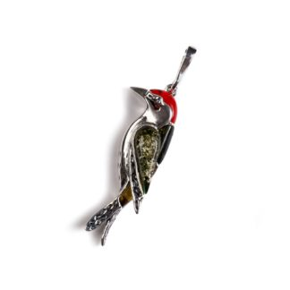 Small Amber & Coral Woodpecker Bird Necklace