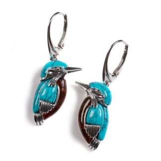 Amber & Turquoise Kingfisher Bird Earrings