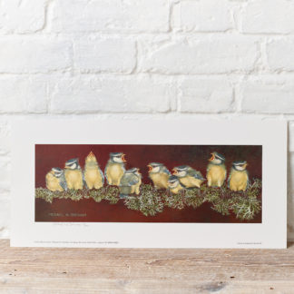 """The Squabble"" Blue Tit Fledglings Painting"