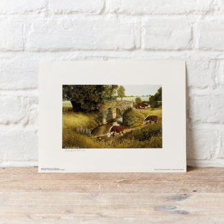 Hereford Cattle by River Painting