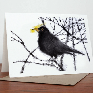 Sammie's Blackbird Greeting Card by Margaret Taylor