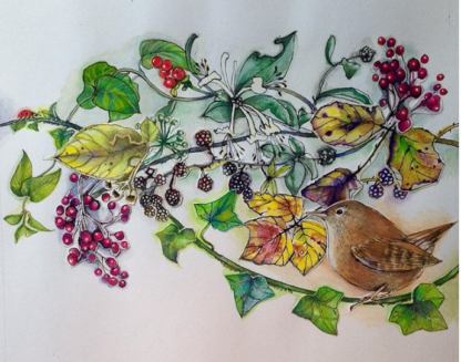Bramble Wren Painting by Margaret Taylor