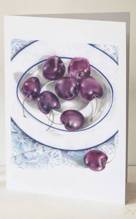 Cherries Greeting Card by Margaret Taylor