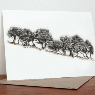 Gilt Edge Tree Line Greeting Card by Margaret Taylor
