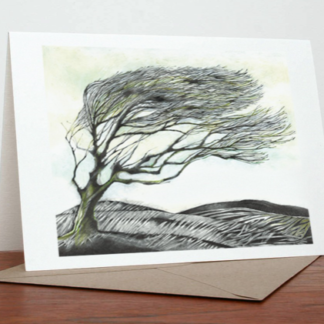 Windy Tree Greeting Card by Margaret Taylor
