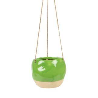 Dip Glaze Hanging Planter – Green