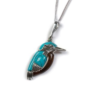 small kingfisher pendant blue amber turquoise silver