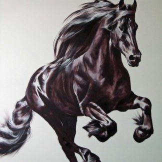 fresian bound oil on canvas galloping Matt Clarke