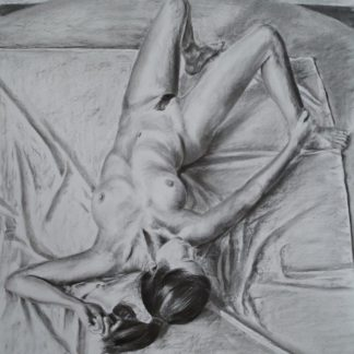 Mandy Reclining Inverted in charcoal on paper original by Matt Clarke
