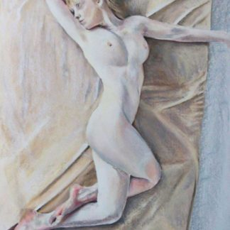 Blonde lady lying nude on sheets