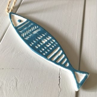 cermaic hanging fish with blue detailing